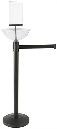 "14"" Diameter Black Stanchion & Post with Bowl"