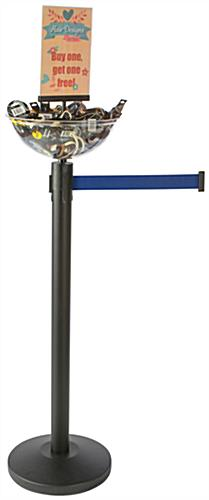 Retractable Blue Stanchion & Post with Bowl