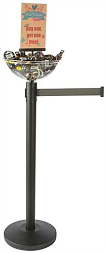 Retractable Gray Stanchion & Post with Bin