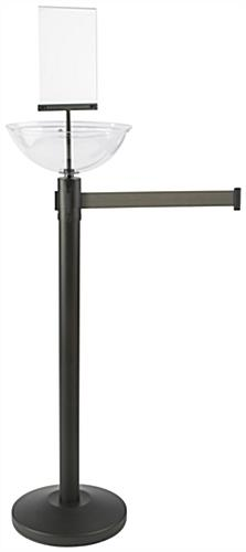 "14"" Diameter Gray Stanchion & Post with Bin"