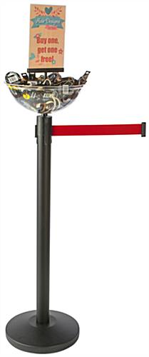 Retractable Red Stanchion & Post with Bin