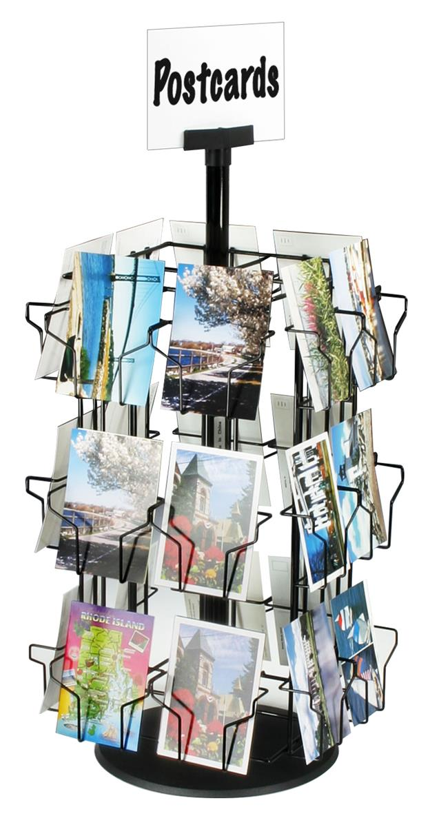 Postcard Display Stand Post Card Stand Rotating w Sign Clip 41 Pockets 11