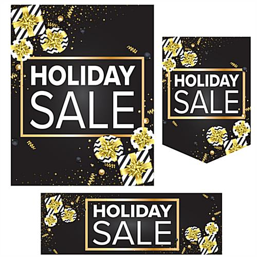 holiday retail poster set with three sizes and shapes