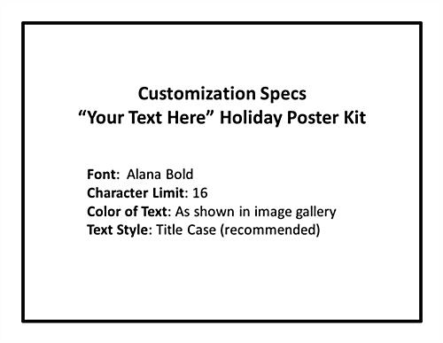 Multipack custom holiday business posters with text personalization