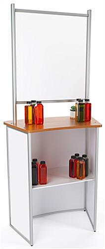 Mobile sneeze guard tabletop with shelf for storage