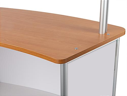 Mobile sneeze guard tabletop with modern brown counter
