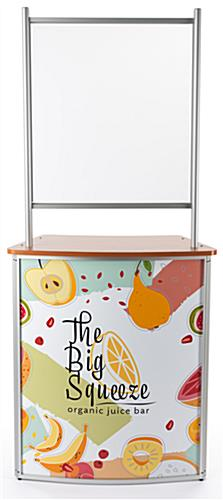 Full color personalized commercial table with splash shield