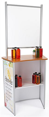 30 inch x 71 inch personalized commercial table with splash shield and shelf
