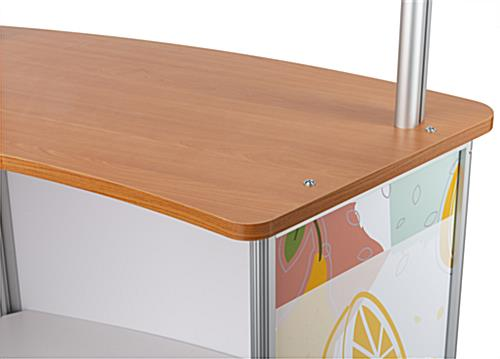 Personalized commercial table with splash shield with wood brown countertop