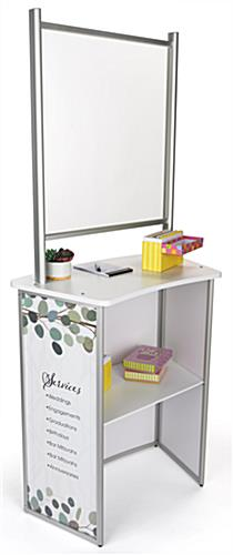 30 inch x 71 inch custom printed portable splash guard countertop with a shelf for storage