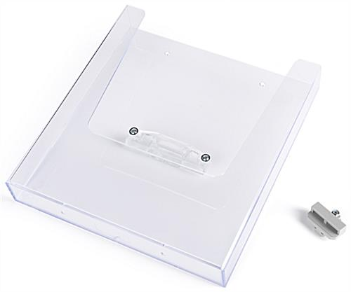 Social distancing brochure holder for PCSG series with silver colored hardware
