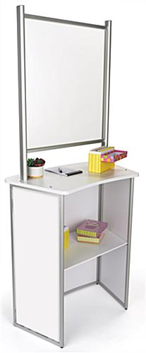 30 inch x 71 inch portable counter with hygiene barrier and back shelf