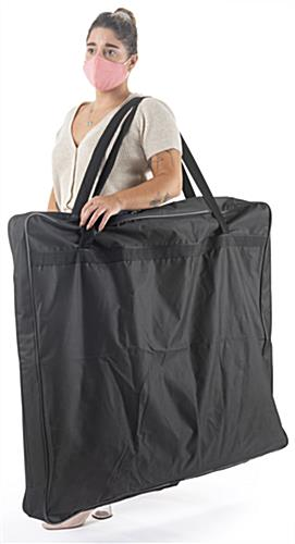 Portable counter with hygiene barrier and carrying case with a side shoulder strap