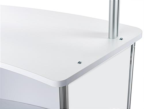 Portable counter with hygiene barrier with a sleek white finish