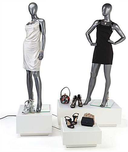Retail mannequin lighted riser platform with soft glow LED illumination