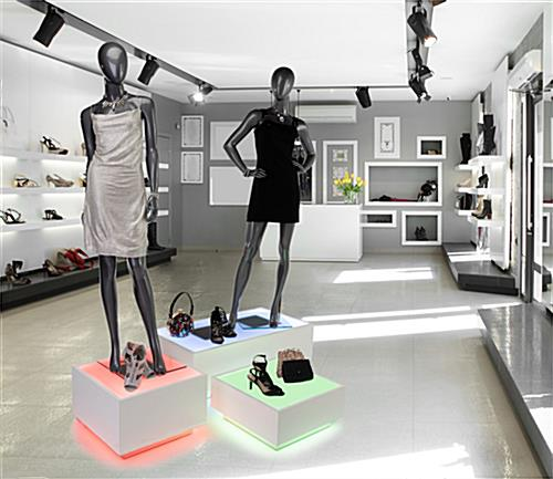 Retail mannequin lighted riser platform has multiple color possibilites