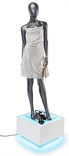 Illuminated display mannequin plinth is the perfect platform base for dress forms