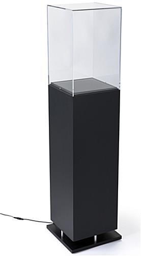 Black Pedestal Showcase with Ambient Lighting and Clear Enclosure