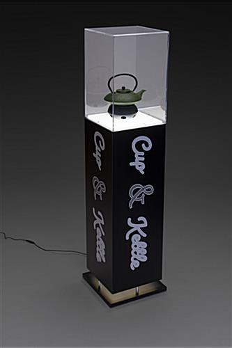 Custom lighted display pedestal for sculpture with interior LED illumination