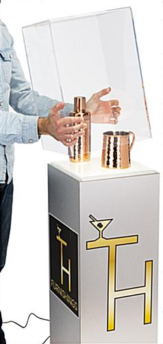 Laminate lighted custom display pedestal with acrylic top
