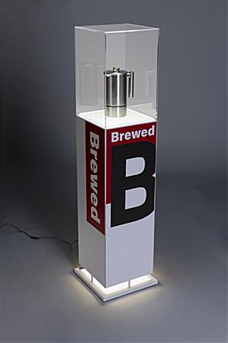 Lighted art pedestal display with graphics and LED illumination