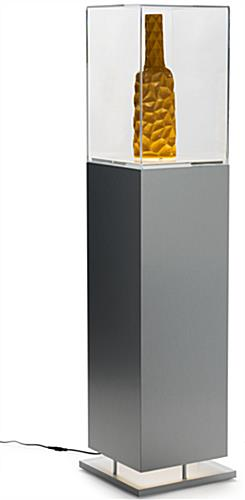 Metal-Look Pedestal Showcase with Ambient Lighting and Removable Power Cord