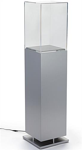 Metal-Look Pedestal Showcase with Ambient Lighting and Clear Enclosure