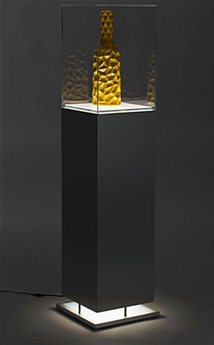 Metal-Look Pedestal Showcase with Ambient Lighting and Lift-off Top
