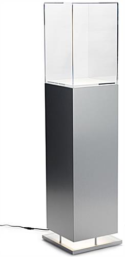 Metal-Look Pedestal Showcase with Ambient Lighting and Modern Design