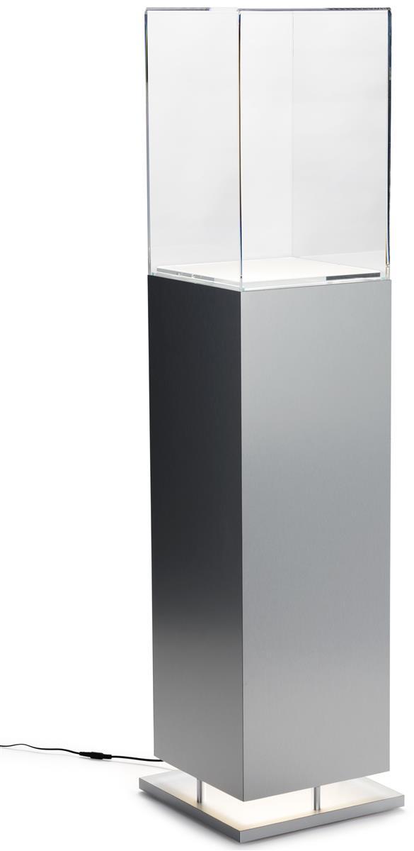 Metal Look Pedestal Showcase W Ambient Lighting Brushed
