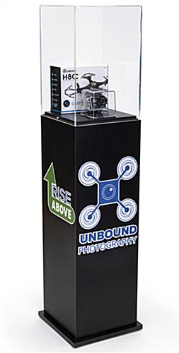 Custom acrylic display pedestal with branded graphics