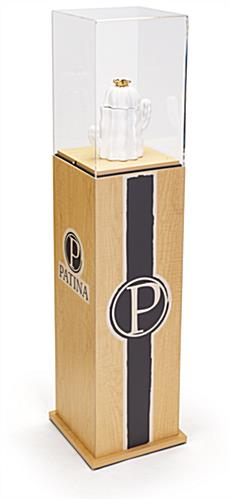 Branded retail printed display pedestal case with custom graphics