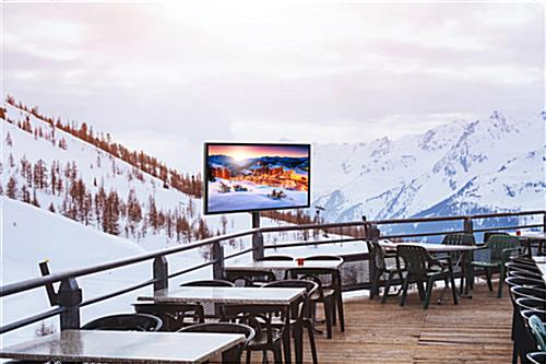 Weatherproof outside television suitable for use in harsh temperatures