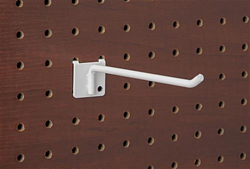 6 inch white peg board hook has a smooth sleek look