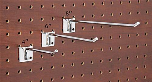 8 inch retail store display hooks designed for long lasting pegboard use