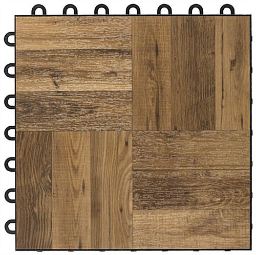 Dance Floor Dark Oak Interlocking Plastic Tiles