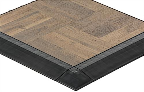 Dark Oak Interlocking Plastic Tiles with Sloped Edges