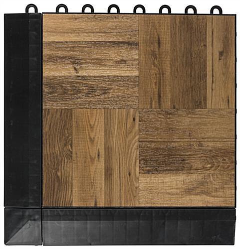 Dark Oak Interlocking Plastic Tiles With Finished Edges Dance Floor ...