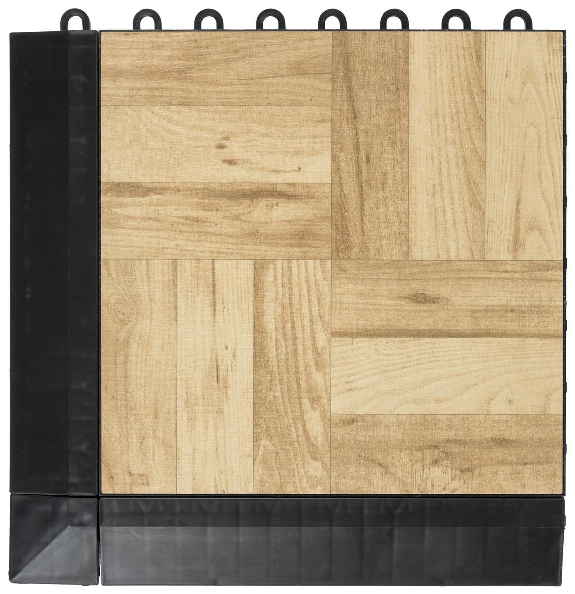 Light Oak Interlocking Plastic Tiles Parquet Pattern