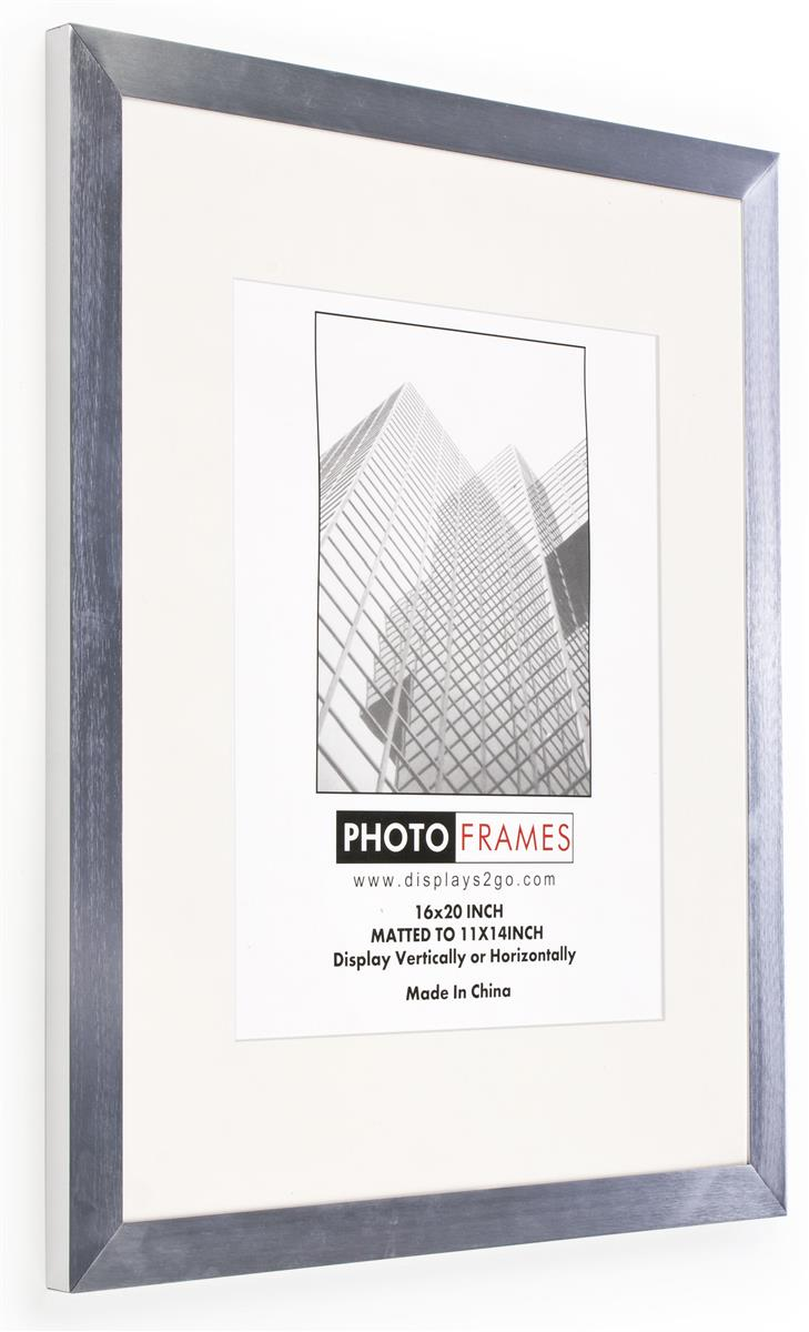 Silver Picture Frame Brushed Aluminum Finish Wide Profile