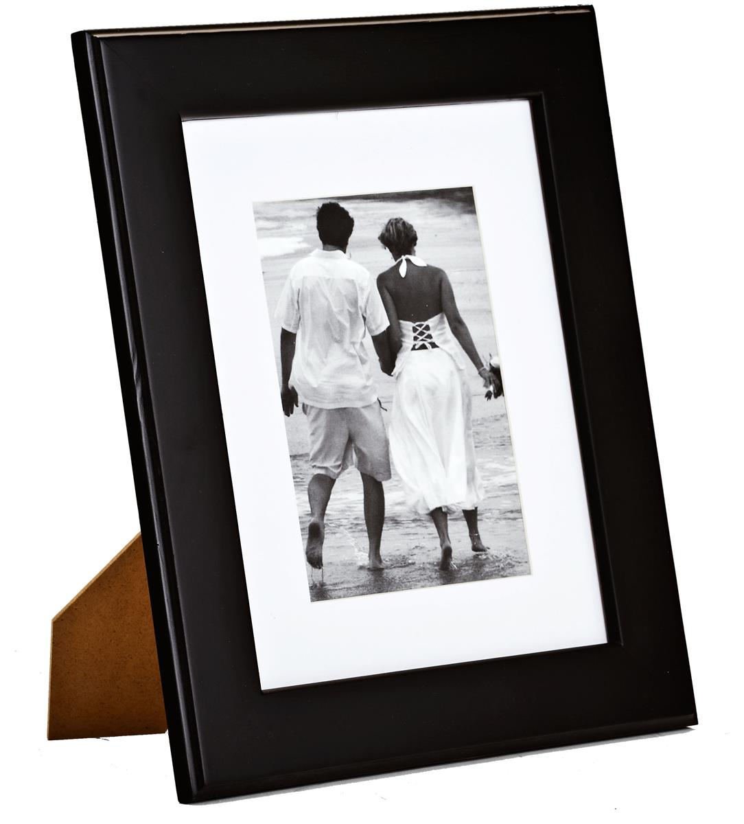Black Wood Matted 5x7 Photo Frame | Desktop or Wall Mounting
