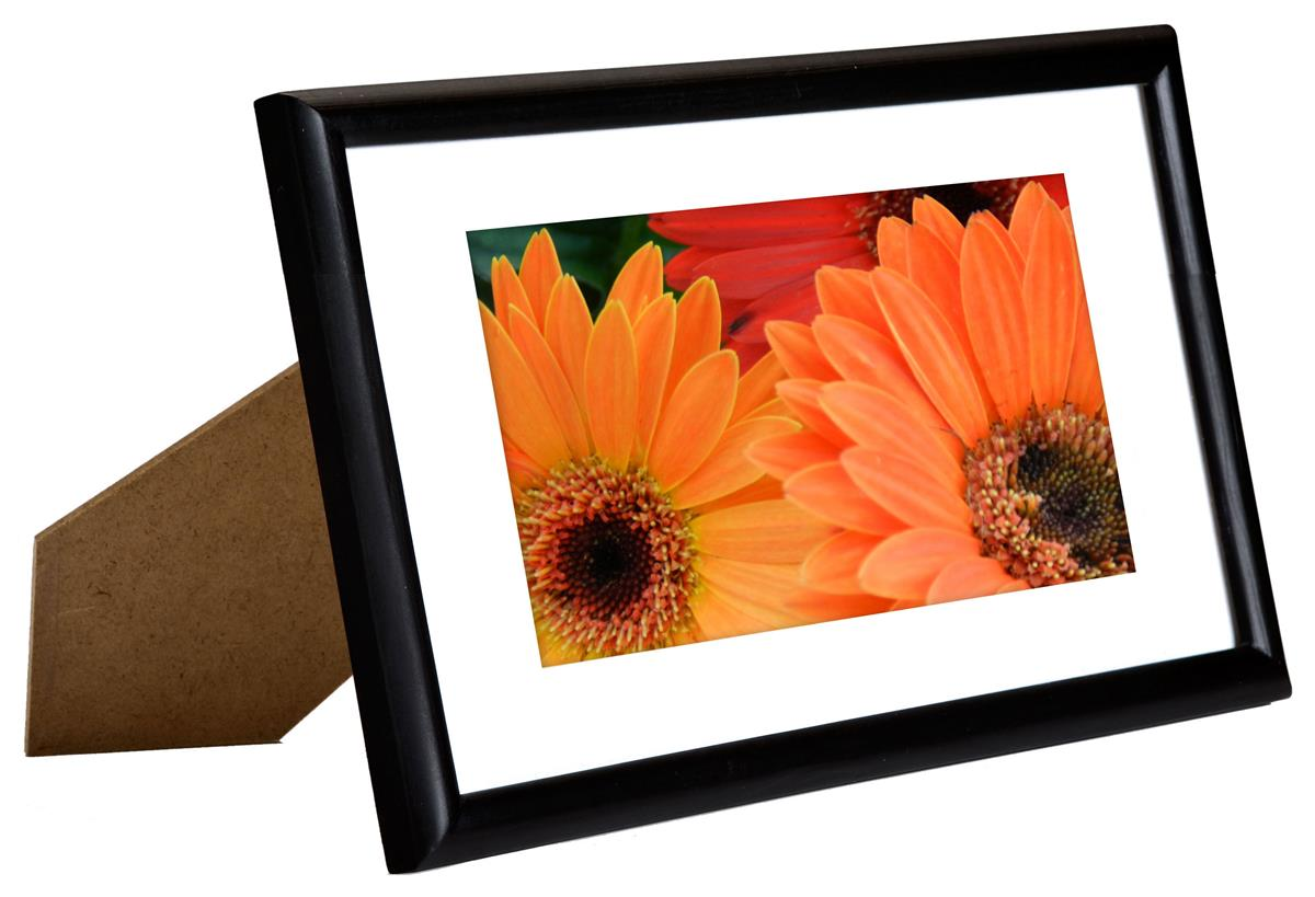 4 X 6 Matted Picture Frame For Table Or Wall White Mat Thin Profile Wood Black