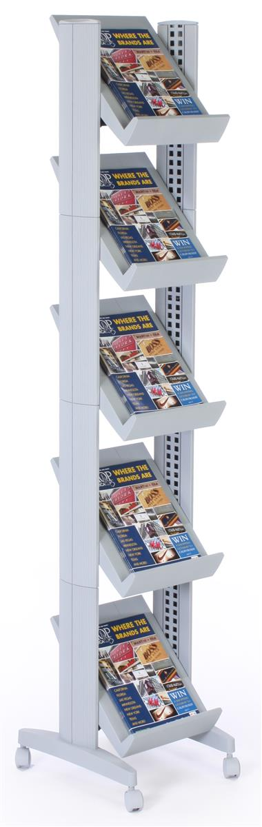 Free Standing Magazine Racks 5 Height Adjustable Shelves