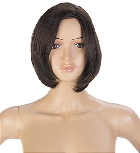Female Mannequin Model with Short Brown Wig and Eyelashes