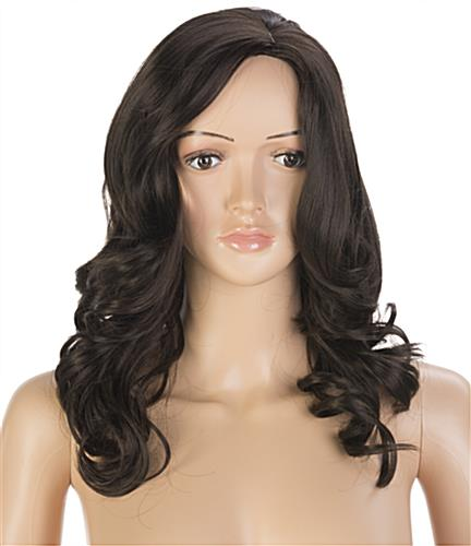 Standing Female Mannequin with Long Brown Wig and Styled Curly