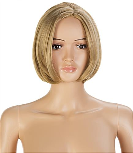 Female Full Body Mannequin with Short Blonde Wig and Exposed Neck