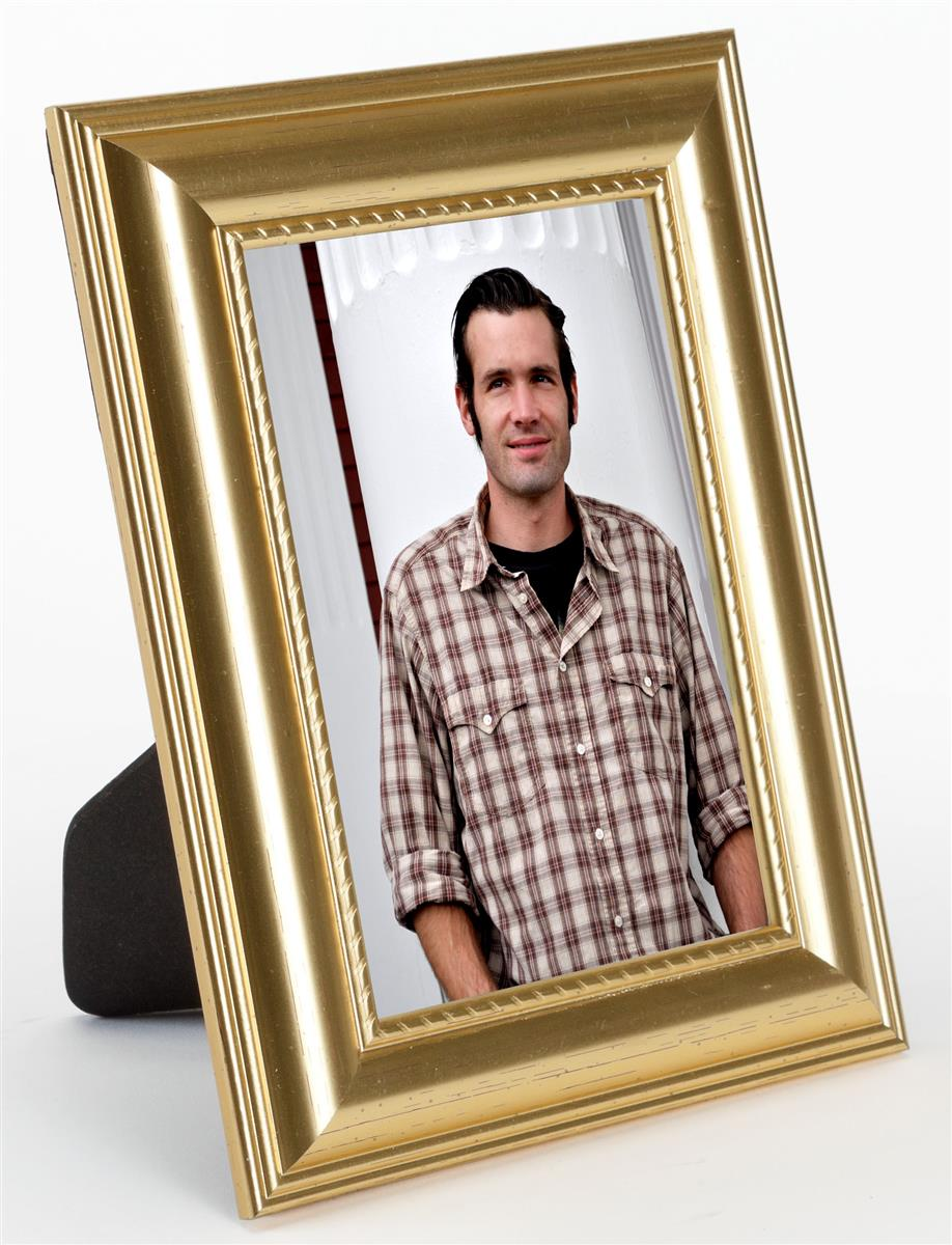 4 X 6 Photo Holder Gold Molded Tabletop Amp Wall Mount Frame