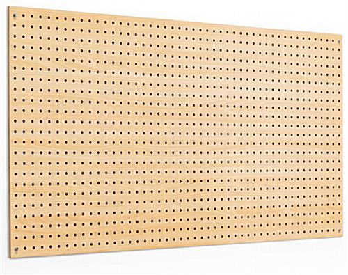 Natural stained MDF pegboard retail display