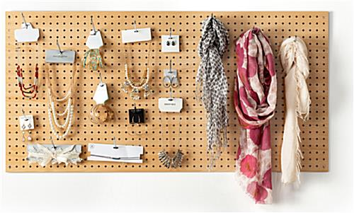 MDF pegboard retail display with included mounting hardware