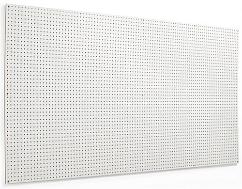 "Large white pegboard with 1/4"" holes"